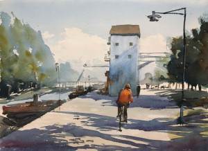 Cycling along Fyrisån, watercolor by Stefan Gadnell
